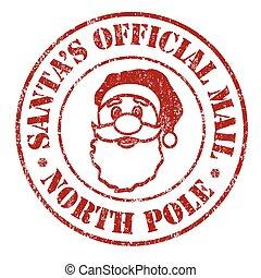 postzegel, post, officieel, santa