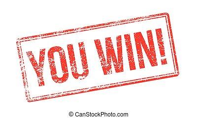 postzegel, rubber, u, win!, wit rood