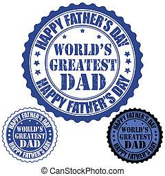 postzegel, s, vader, dag, vrolijke