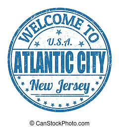 postzegel, stad, welkom, atlantische