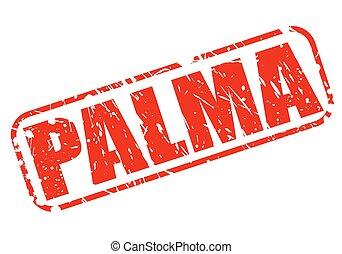 postzegel, tekst, palma, rood