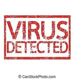 postzegel, tekst, virus, detected