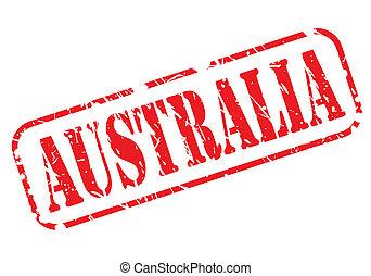 postzegel, tekst, witte , australië, rood