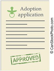 postzegel, toepassing, adoptie, goedgekeurd