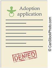 postzegel, toepassing, adoptie, ontkennen