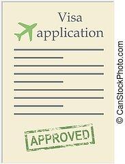 postzegel, toepassing, visum, goedgekeurd