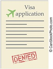 postzegel, toepassing, visum, ontkennen