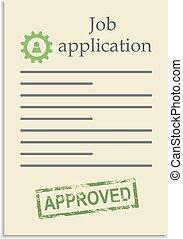 postzegel, toepassing, werk, goedgekeurd