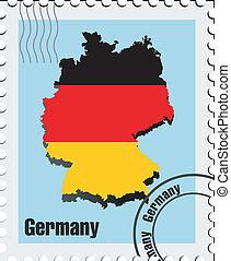 postzegel, vector, duitsland