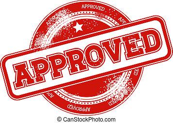 postzegel, vector, grunge, goedgekeurd