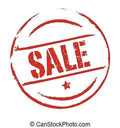 postzegel, vector, grunge, verkoop, rood