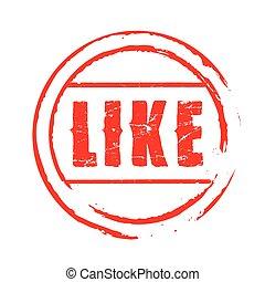 postzegel, vector, grunge, zoals, rood
