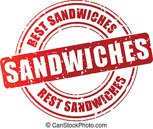 postzegel, vector, sandwiches, best