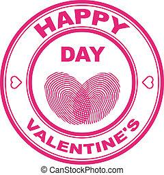 postzegel, vector, valentijn