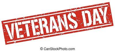postzegel, veteranen, plein, grunge, dag