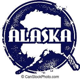 postzegel, vintaeg, stijl, alaska, staat