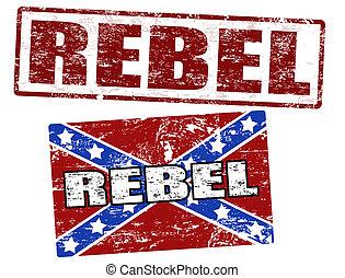 postzegel, vlag, rebel, verbonden