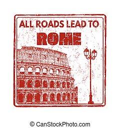 postzegel, wegen, alles, rome, lood