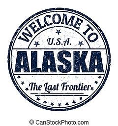 postzegel, welkom, alaska