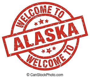 postzegel, welkom, alaska, rood