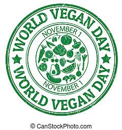 postzegel, wereld, dag, vegan