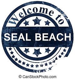 postzegel, wit strand, achtergrond, zeehondje