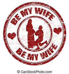 postzegel, zijn, mijn, vrouw
