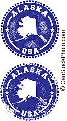 postzegels, alaska, usa