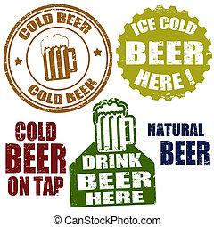 postzegels, koud bier