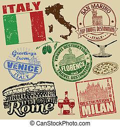 postzegels, met, italië