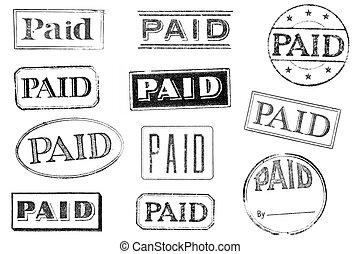 postzegels, oud, betaald, versleten