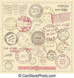 postzegels, ouderwetse , set