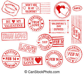 postzegels, set, 15, dag, valentine