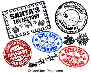 postzegels, set, kerstmis