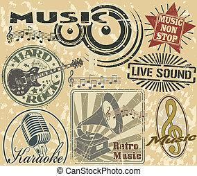 postzegels, set, muziek
