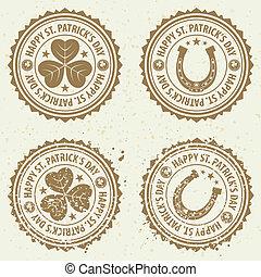 postzegels, straat., dag, patrick's