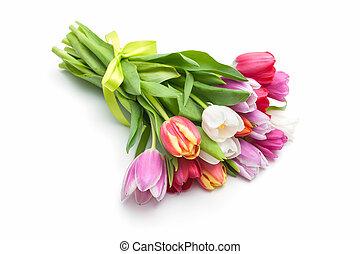 posy, i, forår, tulipaner, blomster