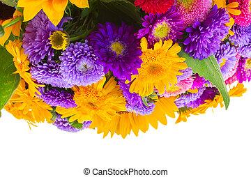 posy, od, mieszany, jesień, kwiaty