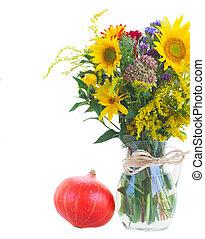 posy, od, upadek, jesień, kwiaty