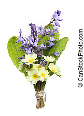 posy of flowers - Posy of Spring wild flowers, bluebells and...