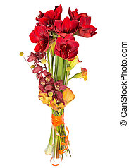 posy of red flowers on white background