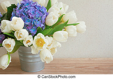 white tulips and blue hortensia flowers - posy of white...
