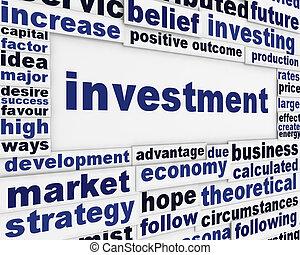 poszter, anyagi, tervezés, befektetés