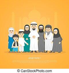 poszter, arab, család