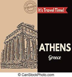 poszter, athéné, retro, touristic