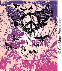poszter, béke, művészet, váratlanul, aláír