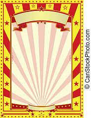 poszter, cirkusz, sárga, piros