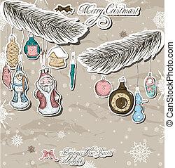 poszter, decorations., szüret, karácsony