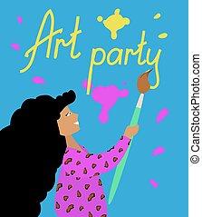 poszter, design., művészet, vagy, leány, brush., illustration., csalogat, lakás, buli., fényes, hatalmas, vektor, meghívás, repülő