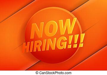 poszter, hiring., tervezés, hirdetés, jelenleg, transzparens, vagy